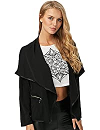 Hannea Chic Turn-Down Collar Zipper Pocket Design Coat for Ladies