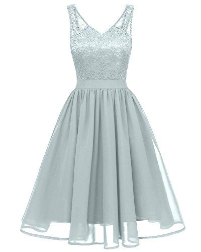 Gorgeous Bride Modisch V-Ausschnitt Spitze Sommerkleider Strand Abendkleider Festkleider Ballkleider Cocktailkleider Kurz-L-Grau