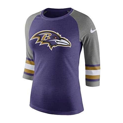 Nike NFL Baltimore Ravens Women's Stripe Sleeve Raglan Tri T-Shirt Medium (Raglan Fan Womens)