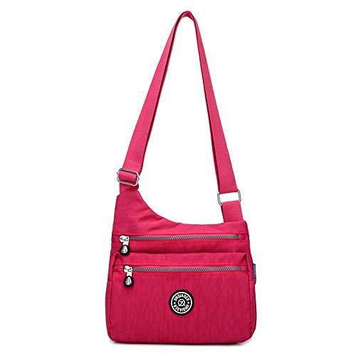 Nuova borsa da donna borsa di stoffa di nylon Messenger bag signore borsa da viaggio a spalla leggera borsa casual panno rosso