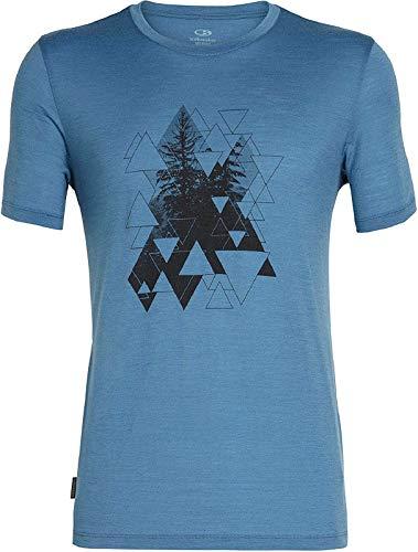 Icebreaker Herren Mens Tech Lite SS Crewe Evergreen Geo T-Shirt, Thunder, M - Herren Icebreaker