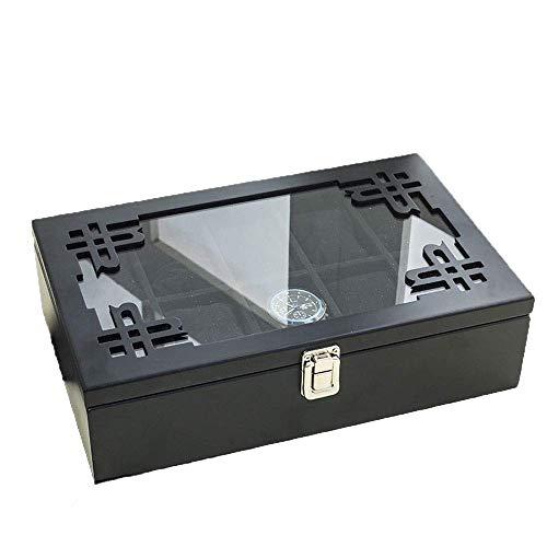 Zlmmy portaoggetti for orologio in legno massello espresso con vetrina in vetro, 10 slot di case elegance (color : c)