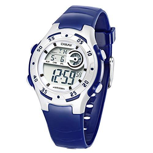 Jungen Digitaluhren Kinder Uhr Mädchen Jungenuhr Wasserdicht 5ATM Sportuhren Digital Armbanduhr Uhr mit Wecker/Stoppuhr, Datum & Woche und Kalender,Nachtlicht Outdoor Sports Uhren (Darkblau)
