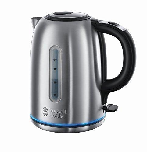 Russell Hobbs Wasserkocher Buckingham Edelstahl, 1,7l, 3000W, Schnellkochfunktion, sehr leise Teemaschine, optimierter Ausguss, Teekocher 20460-56 (Tee-und Wasserkocher Ruhigen)
