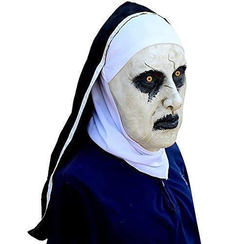 Halloween Maske Ghost Festival Horror Film Nonne Masken Angst Scared Weibliches Gespenst Gesicht Horror Latex Maskerade Maske Unisex 1 Stücke Erwachsene Geschenk,White,Onesize (Weiblich Unheimlich Halloween-gesichter)