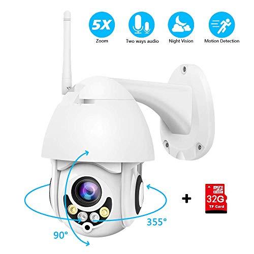 Tilt-taste (PTZ Kamera Aussen 5X Zoom WLAN IP Dome Überwachungskamera 1080P Pan 355°/ Tilt 90°, Zwei Wege Audio, APP Alarm, IR Nachtsicht, Bewegungserkennung, IP66 Wasserdicht, Fernzugriff)