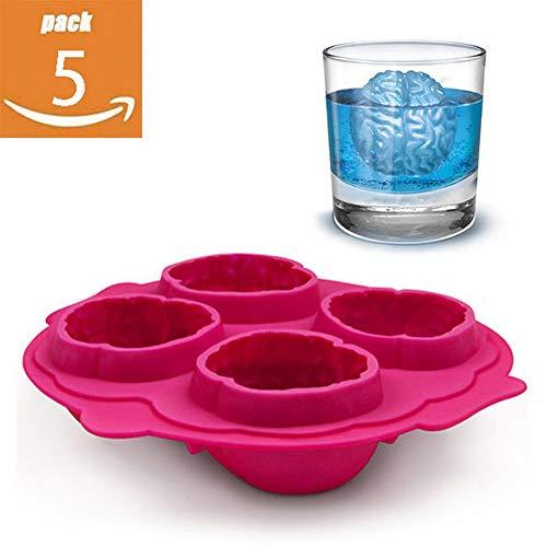 CHYOOO Eiswürfelform 5 Stück Geeignet Für Küchenparty Bar Whisky Oder Babynahrung Eiswürfelbehälter Halloween-Horror-Gehirn-Form-Nahrungsmittelgrad-Silikon BPA Wiederverwendbar