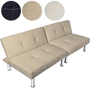 Modern sofa bed settee futon faux leather 3 2 seater cream for Sofa bed amazon