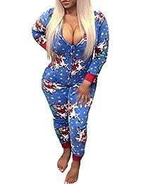 Frecoccialo Sexy Combinaison Pyjama de Nuit Femme Imprimé Motif Noël  Grenouillère Femme à Manches Longues avec 3e1b3178221