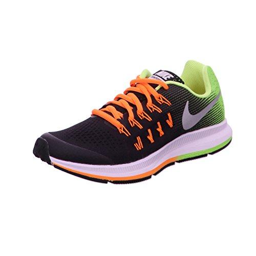 Nike Zoom Pegasus 33 (Gs), Zapatillas de Running Niños, Negro (Negro (Black/Metallic Silver-Volt-Total Orange), 37.5 EU