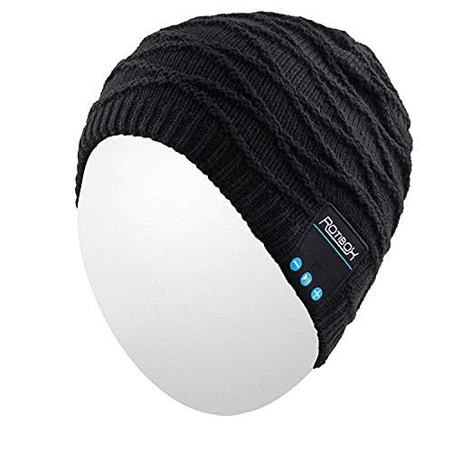 Qshell senza fili Bluetooth Beanie Cappello Cuffia Cuffia Musica Cap audio per le donne gli uomini con l'altoparlante Mic mani libere sport esterni, regali di Natale - Nero