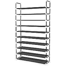 Songmics Zapatero de 10 niveles Estantería con estructura metálica Baldas de plástico PP 100 x 29 x 175 cm Negro LSC10H