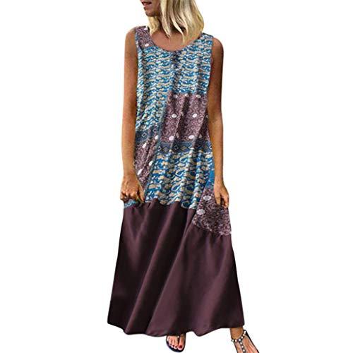 Tohole Damen Strandkleider Türkischer Stil Boho Lose Tunika Lange Sommerkleider Shirt Strandhemd Kleid Urlaub Vintage unregelmäßiges Kleid(Braun-H,3XL)