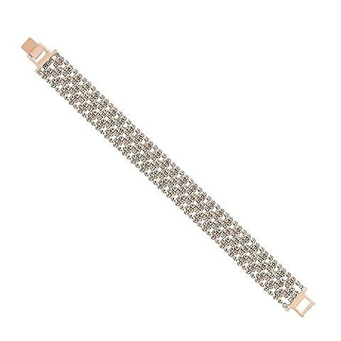 Jon Richard Mini diamante crystal rose gold wide bracelet ROSE GOLD