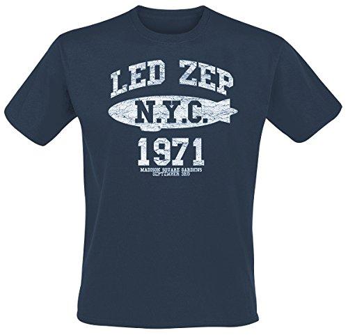 Led Zeppelin NYC 1971 T-shirt bleu XL