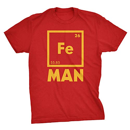 Fanaxii Herren Eisenelement Grafik Fe Man Ironman Sommer-beiläufige Kurze Hülsen Baumwolle T-Shirt Red X-Large