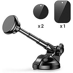 AINOPE Support Voiture Magnétique, Support Téléphone Voiture Universel avec bras extensible pour iPhone X/8/7/6s/6/SE/5, Samsung Galaxy S8/S7/A5/Note8, Smartphone et GPS Appareils (Noir)
