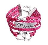 dirtygal Mode Rose Vif Bracelet Infini Motif de Coeur d'amour Faux Cuir Corde Tricotée Punk Charme Enveloppement Bracelet par SamGreatWorld
