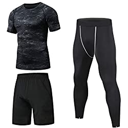 Niksa Ensemble Compression Homme Tenue Sport Fitness Vêtement Running Tee Shirt Compression Legging Sport Short Running Noir S