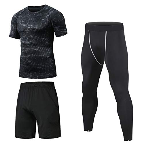Niksa Homme 3 Pièces Vêtements de Sport avec Shirt Compression+Collant Running +Short Séchage Rapide pour Jogging Workout Football Cyclisme Ensemble de Fitness Tenue de Sport Sportswear(12 Short M)