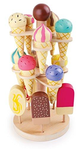 *Beweglicher Eisständer, Kaufmannsladen Zubehör aus Holz, 15 Eissorten am Stiel oder in der Waffel, Kaufladen Zubehör ab 3 Jahre*