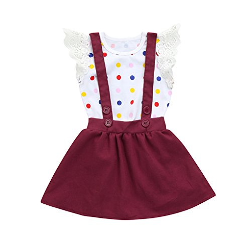 JYJM2Pcs Infant Baby Girls Dot Print Lace Rompers Jumpsuit Strap Skirt Outfits Set Sommerkleid Kleidung für Mädchen 6-24 Monate (90, WeinB)