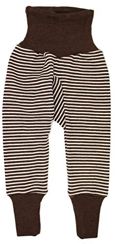 Cosilana Baby Hose lang mit Bund, Größe 50/56, Farbe geringelt Braun-Natur - Vertrieb durch Wollbody®GmbH