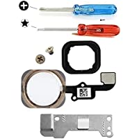 MMOBIEL Repuesto Botón de inicio para iPhone 6S / 6S Plus (Oro) con cable FLEX (flexible), placa de soporte metálica pre-instalada, junta de goma, 2 tornillos Incl. 2x destornilladores.