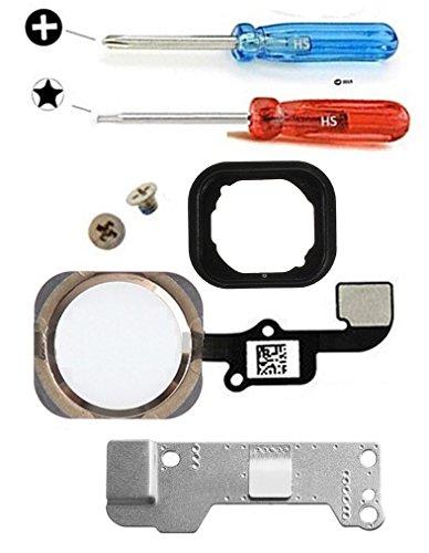 MMOBIEL Repuesto Botón de inicio para iPhone 6S / 6S Plus (Oro Rosa) con cable FLEX (flexible), placa de soporte metálica pre-instalada, junta de goma, 2 tornillos Incl. 2x destornilladores.