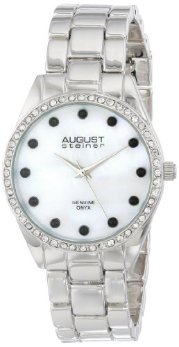 August Steiner Women's AS8072SSB Quartz Mother-of-Pearl Silver-tone Bracelet Watch