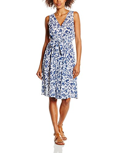 United Colors of Benetton Floral, Robe Femme Bleu (blue/white)
