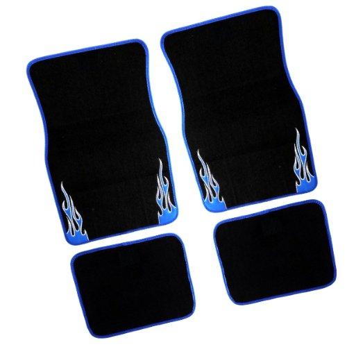 FUM835 - Velour Caoutchouc Tapis de sol de voitures 4 Piece Universal Tapis de sol auto Noir/Blue Flame