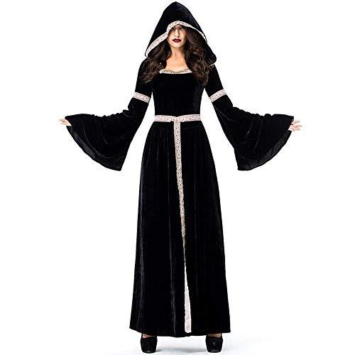 Fashion-Cos1 Halloween Zauberin Hexe Kostüme Weibliche Retro Gericht Cosplay Vampir Hexe Rollenspiel Tuch Karneval Weihnachten Rave Party Kleid (Size : XL)