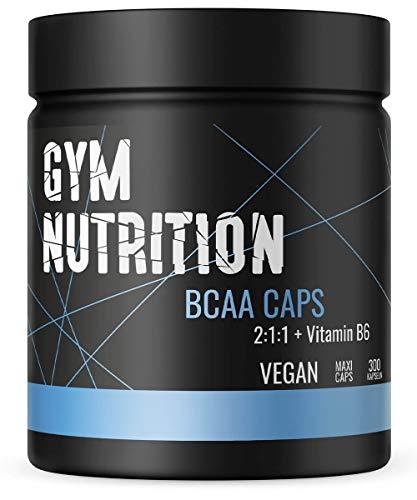 BCAA Kapseln 1100 + Vitamin B6 - Essentieller Amino Komplex 2:1:1 - Hochdosiert Und Vegan - Kraftsport, Muskelaufbau und Bodybuilding - 300 BCAAs Kapseln - Made in Germany