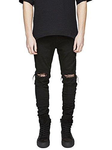 Zixing pantaloni uomo jeans cuciture decorative skinny fit sguardo distrutto nero 30