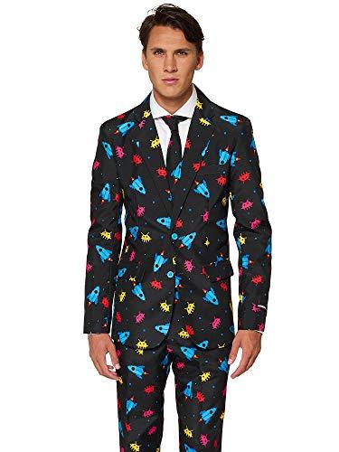 (Suitmeister Faschingskostüme für Herren - Mit Jackett, Hose und Krawatte mit Festlichen Print, Videogame XL)