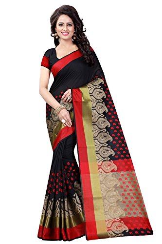 INDIAN CULTURE WOMEN'S ETHNIC WEAR COTTON BLEND BLACK COLOUR SAREE. (ANUSHKA BLACK)