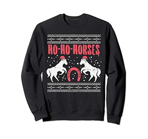 Ho Horses Xmas Ugly Christmas Sweater Equestrian Women Gift Sweatshirt -