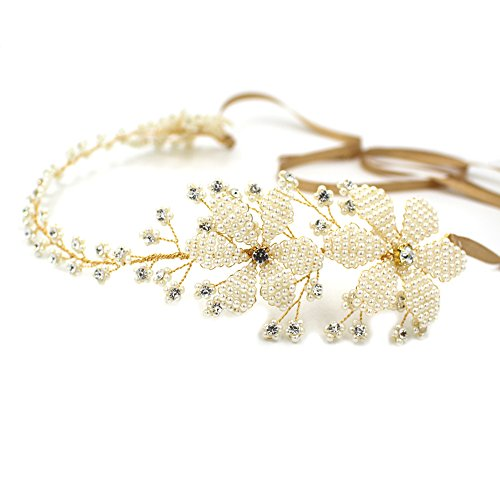 Elegante Göttin Perle Blume Haarband oumoutm Brautschmuck Hochzeit Kristall Kopfbedeckung (Royal Halloween Crown Kostüme)