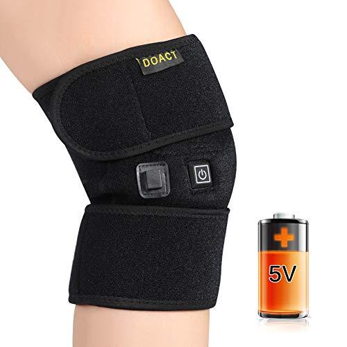 Doact Heizung Kniescheibe Erhitzte Knieorthese Wrap Kniestütze für Arthritis, Erwärmung der Gelenkentlastung Schmerzen im Knie, steife Arthritis, Stämme, passt Knie Wadenbein für Männer und Frauen