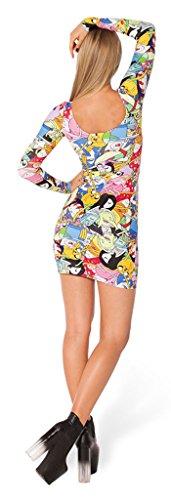 Eyekepper Robe De Femmes Slim - Bien Ajustee a Manches Longues - A motifs Design Des Personnages Animee - Silhouette Elegante Tres Jeune Multicolore