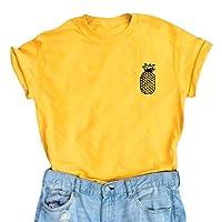 YITAN Women Cute Graphic T Shirts Teen Girls Funny Tops Yellow Medium