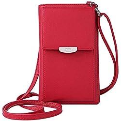 HMILYDYK Femmes Portefeuille Sac À Bandoulière En Cuir Porte-Monnaie Téléphone Portable Mini Pochette Porte-Carte Épaule Portefeuille Sac, Red