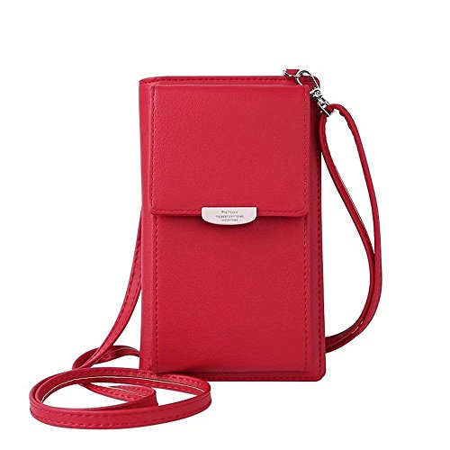 HMILYDYK Frauen Brieftasche Cross-Body Tasche Leder Geldbörse Handy Mini-Tasche Kartenhalter Schulter Brieftasche Tasche (Umhängetasche Crossbody)