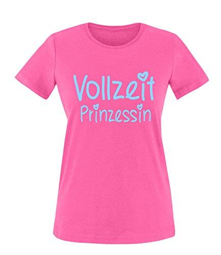 Luckja Vollzeit Prinzessin Damen Rundhals T-Shirt Fuchsia/Hellblau
