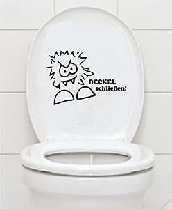 """WC Aufkleber """"DECKEL schließen"""" 16x23cm Bad Klo"""