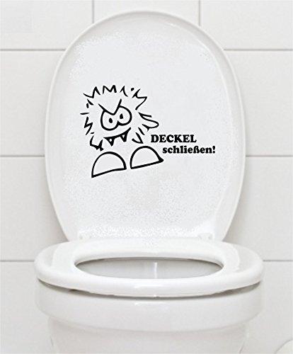 """WC Aufkleber \""""DECKEL schließen\"""" 16x23cm Bad Klo Toilettendeckel Wandtattoo B412 (schwarz)"""