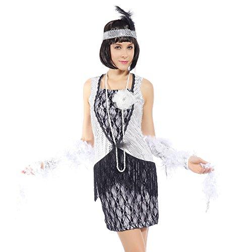 (3tlg 20er 30er Jahre Gr.L Kleid Kleider Kostuem Flapper Charleston Charlestonkostuem Fransen Flapperkleid Fransenkleid)