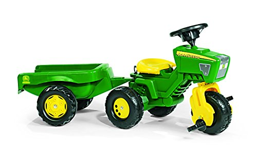 Image of Rolly Toys John Deere Trio Trac with Electronic Steering Wheel and Trailer
