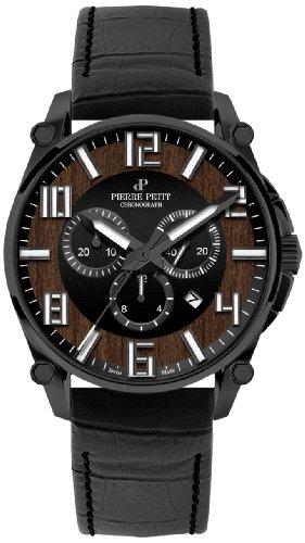 Pierre Petit Herren-Armbanduhr XL Le Mans Chronograph Quarz Leder P-827E